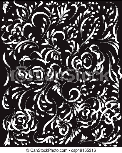 Beautiful Vintage Flower Pattern White On A Black Vector Clip