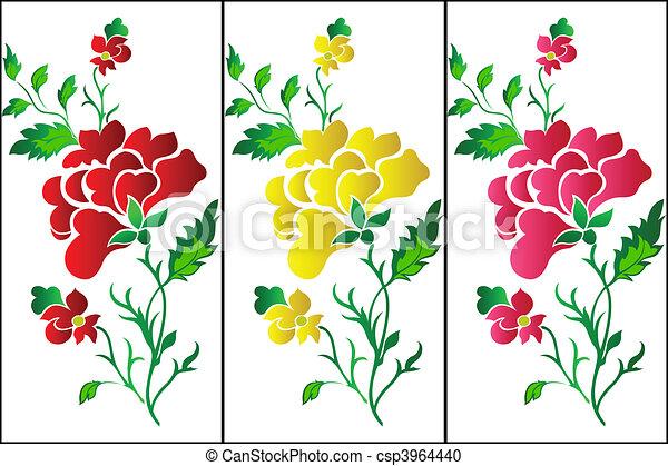 Flower Pattern Vertical Rose Tatt Decorative Colour Flower