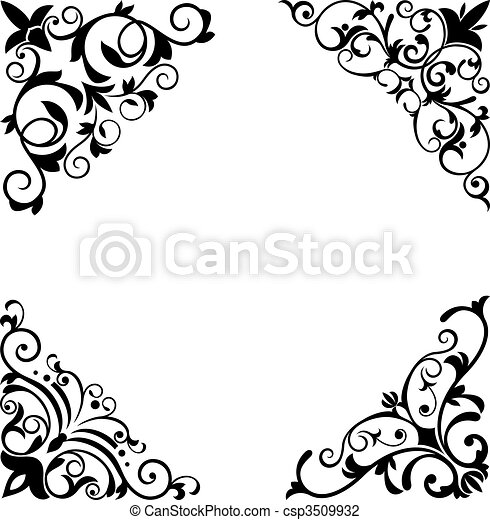 Flower patterns and borders - csp3509932