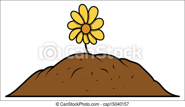 drawing art of flower plant grown in soil vector illustration rh canstockphoto com soil clipdimendion soil clip ks2