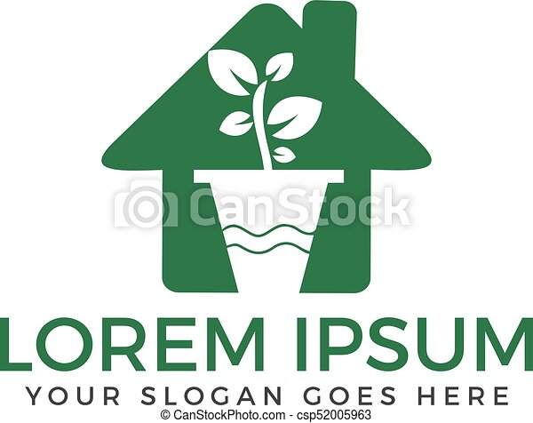Flower Pot And Plant Logo Growth Vector Eco House Shaped Sign