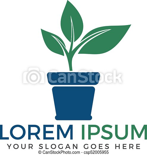 Flower Pot And Plant Logo Growth Vector
