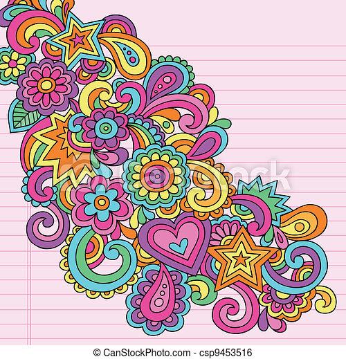 Flower Power Groovy Doodles Vector - csp9453516