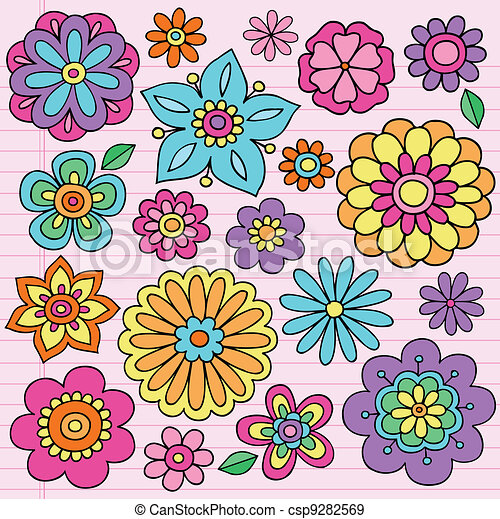 Flower Power Groovy Doodles Vector - csp9282569