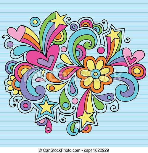 Flower Power Groovy Doodles Vector - csp11022929