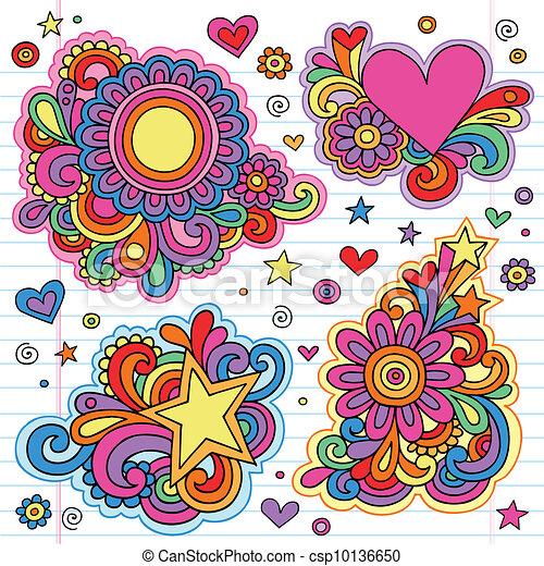 Flower Power Groovy Doodles Vectors - csp10136650