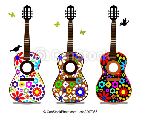flower power guitars three guitars with flowers on the clipart rh canstockphoto com 70s Flower Clip Art Hippie Flower Clip Art