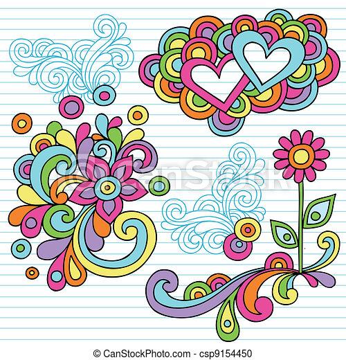 flower power notebook doodle vector flower power notebook vector rh canstockphoto com 70s Flower Clip Art Wild Flowers