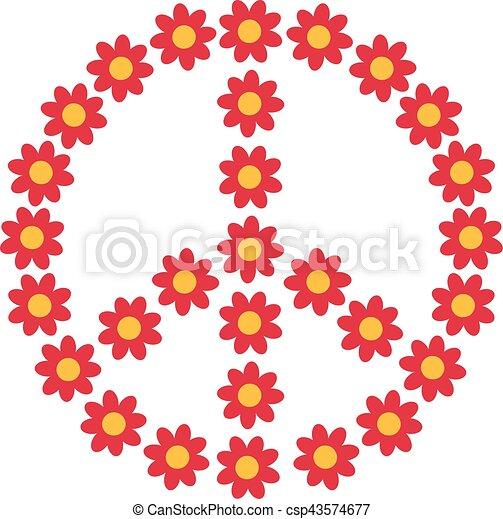 Flower power piece sign - csp43574677