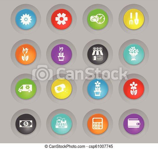 flower shop colored plastic round buttons icon set - csp61007745