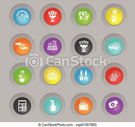 flower shop colored plastic round buttons icon set - csp61007883