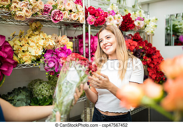 Flower Shop Customer Receiving Her Order