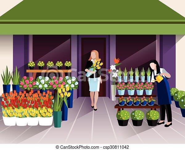 Flower Shop Entrance Banner Flower Shop Window Display And Customer