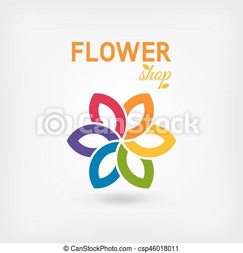 flower shop logo design rainbow colors - csp46018011