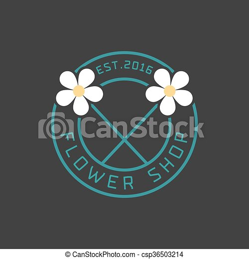Flower shop logo vector - csp36503214