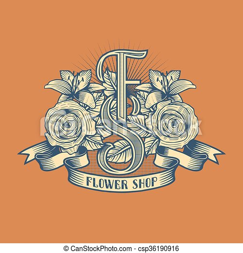 Flower shop vector logo - csp36190916