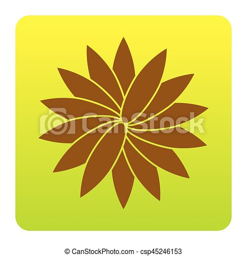 Flower sign. Vector. Brown icon at green-yellow gradient square with rounded corners on white background. Isolated. - csp45246153