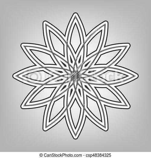 Pencil sketch imitation dark gray scribble icon with dark gray outer contour