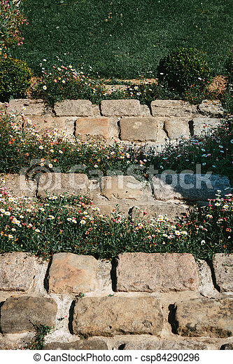 Flower stone staircase in front of the entrance door - csp84290296