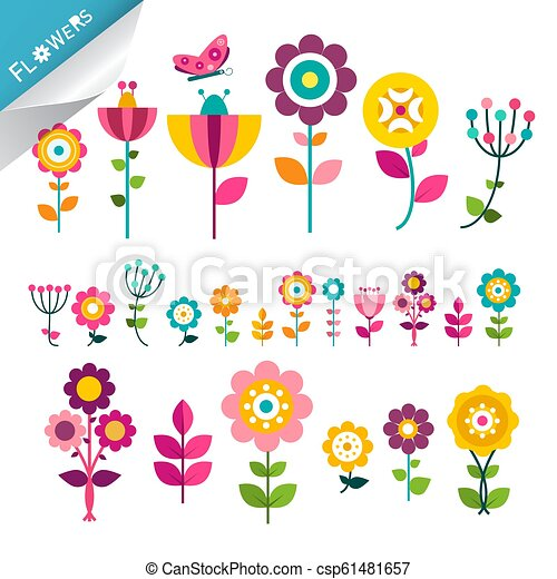 Flower Symbol. Flowers Icons. Cute Flat Plants. Colorful Decorative Vector Natural Elements. - csp61481657