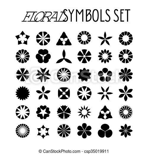 Flower Symbols Set Decorative Floral Icons Design Element For