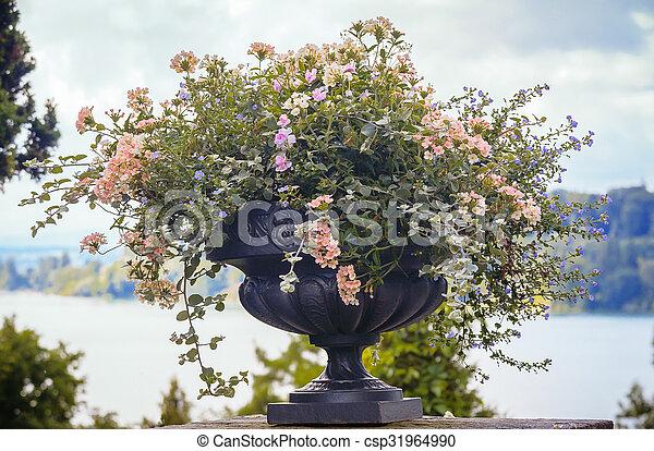 Flower Vase In Garden Decorative Vase With Flowers In The Park