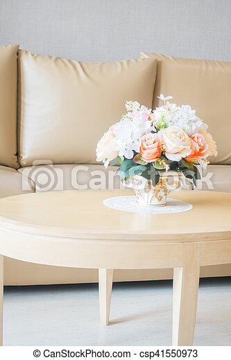 Beautiful Flower Vase On Table Decoration In Living Room Area Interior