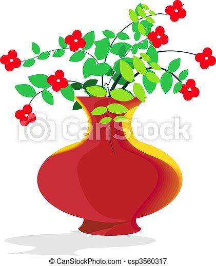 Flower Vase Illustration Of Flower Pot With Flower