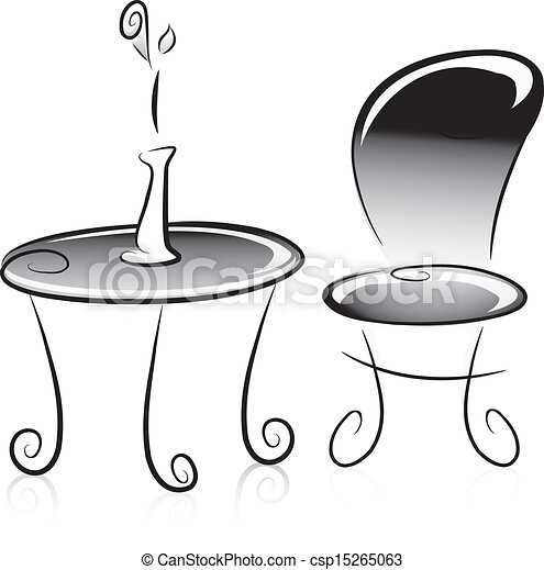 coffee table clipart black and white. flower vase, table and chair in black white - csp15265063 coffee clipart