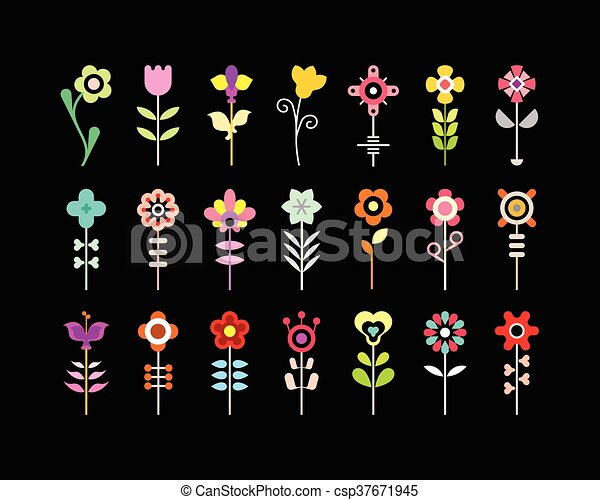 Flower Vector Icon Set - csp37671945