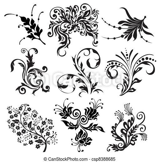 flower vector ornament silhouettes - csp8388685