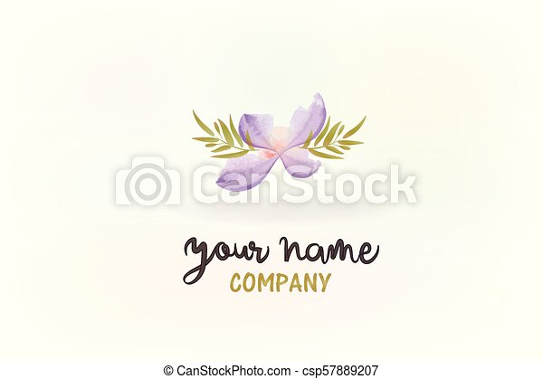 Flower watercolor logo - csp57889207