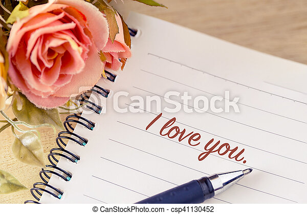 flower with I Love You greeting on note vintage style, valentine concept - csp41130452