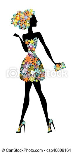 flower woman - a beautiful woman with perfume - csp40809164