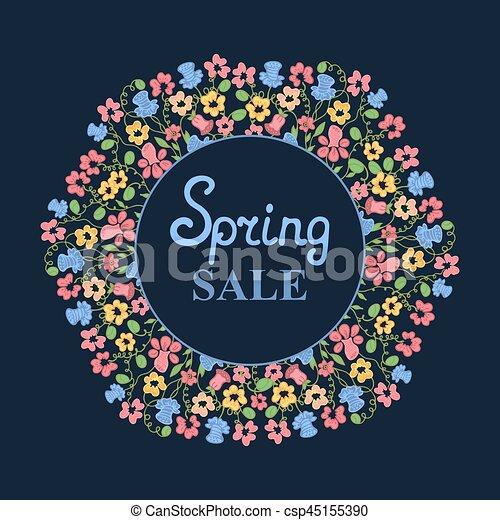 Flower wreath. Spring sale. Design for Women's Day. March 8 - csp45155390