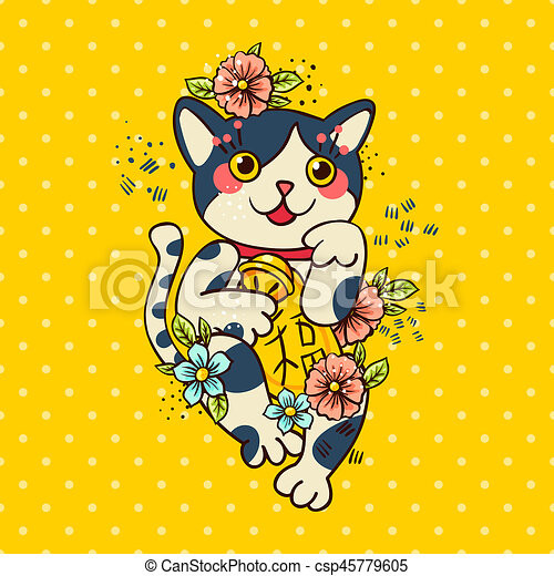 Flowered Heureux Maneki Neko Japonaise Chat