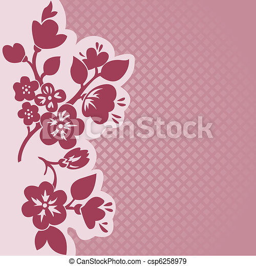 Flowering branch in a checkered background - csp6258979