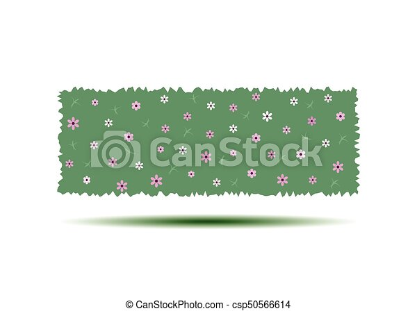 Flowering hedges. Green wall of vertical garden landscaping. Cartoon vector illustration isolated on white background. - csp50566614