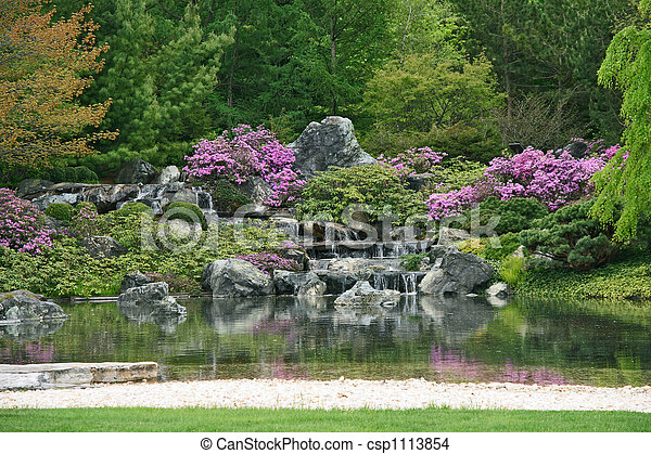 Flowering Japanese garden - csp1113854