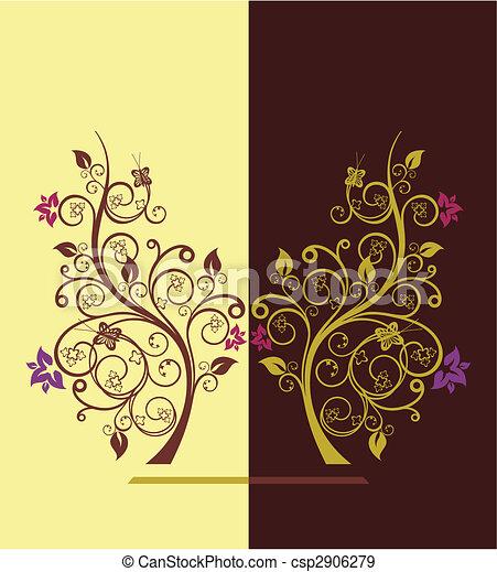 Flowering trees design vector illustration 4 - csp2906279