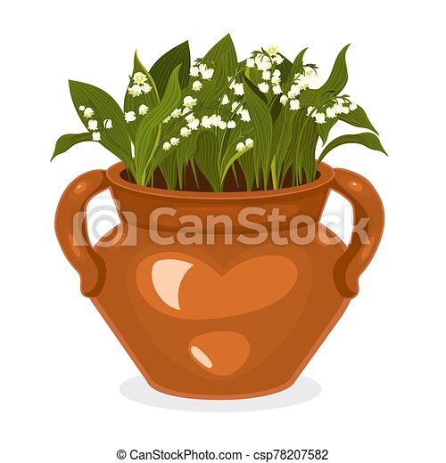 Flowerpot with lilies of the valley Isolated on a white background. Vector graphics. - csp78207582