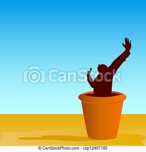 flowerpot with man vector illustration - csp12497185