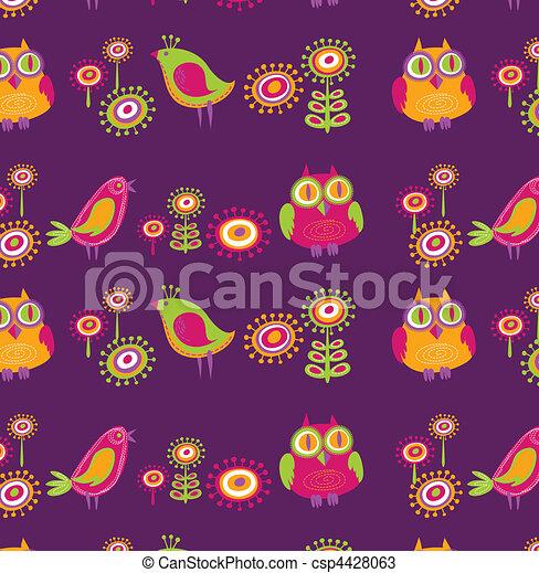 Flowers and birds - csp4428063
