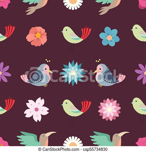 Flowers and birds seamless background - csp55734830