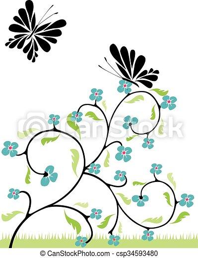 flowers and butterflies 1 - csp34593480