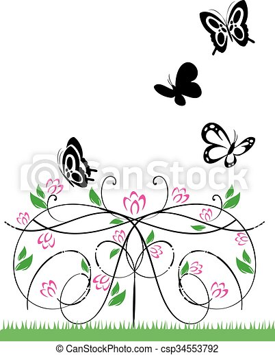 flowers and butterflies 2 - csp34553792
