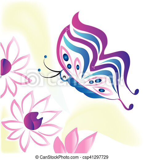Flowers and butterfly - csp41297729