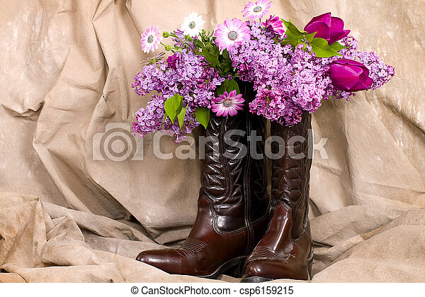 Flowers and Cowboy Boots - csp6159215 & Flowers and cowboy boots. Cowboy boots serving as vases holding ...