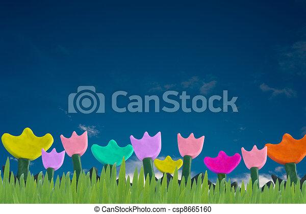 Flowers and Grass Plasticine - csp8665160
