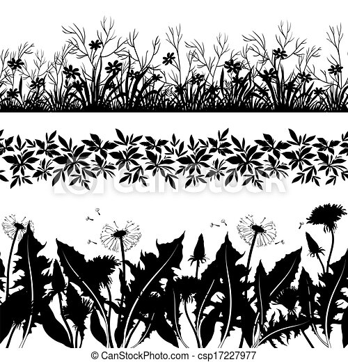 Flowers and grass silhouette, set seamless - csp17227977